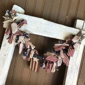 Other - Vintage flag garland wooden flag metal stars